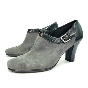 Aerosoles Heelrest Grey Black Suede Booties 8M